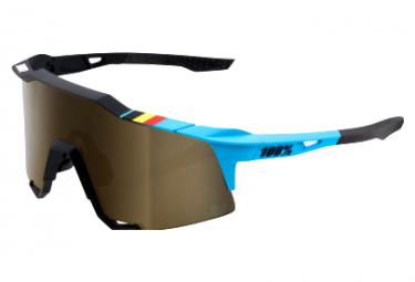 Occhiali 100% Speedcraft Soft Gold con lenti specchiate Belgian Black / Blue