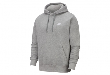 Sweat à capuche Nike Sportswear Club Fleece DK Gris Heather / Argent Mat / Blanc