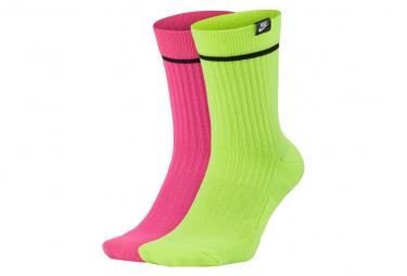 Calcetines Nike Snkr  2x  Rosa Neon   Verde Neon M