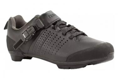 Chaussures Vélo Route Triban 520 Cuire à Lacets et boucle SPD Cyclotourisme Noir