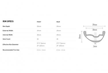 Paire de Roue Enve Foundation AM30 - Industry Nine 101 29''   Boost 15x110 - 12x148mm   Centerlock