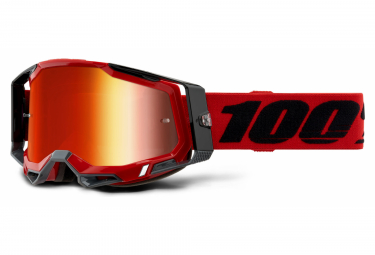 100% RACECRAFT 2 mask | Red Black | Red Mirror Glasses