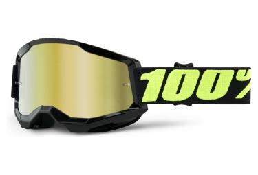 Maschera 100% STRATA 2 | Nero Giallo Fluo Upsol | Occhiali oro a specchio