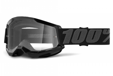 100% STRATA 2 mask   Black   Clear glasses