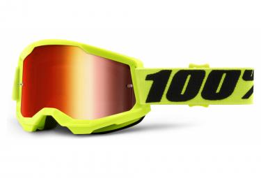 100% STRATA Maske 2 | Neongelb | Rote Spiegelgläser
