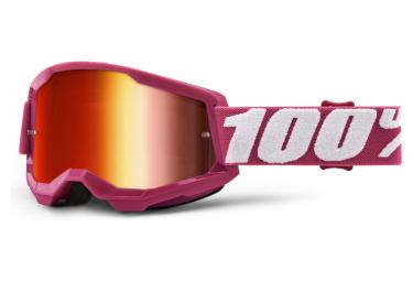 100% STRATA 2 mask | Pink White Fletcher | Red Mirror Glasses