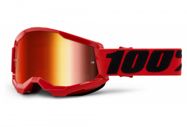 100% STRATA Maske 2 | Rot Schwarz | Rote Spiegelgläser