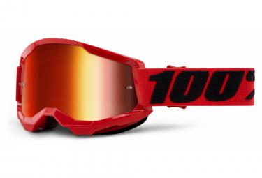 100% STRATA 2 mask | Red Black | Red Mirror Glasses