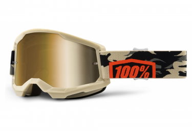 100% STRATA Maske 2 | Brown Black Goggle Kombat | Echte Goldgläser