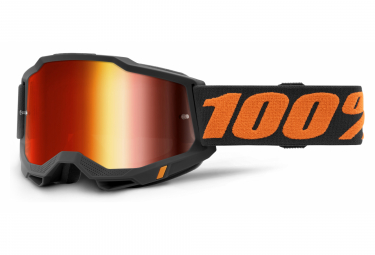 100% ACCURI Maske 2 | Orange Schwarz Chicago | Rote Spiegelgläser