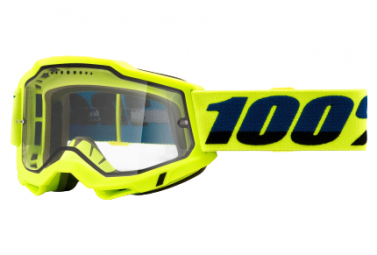 100% ACCURI 2 Enduro MTB Maske | Gelb | Klare Brille