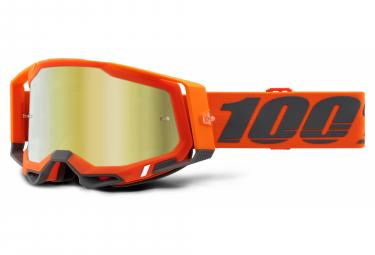 100% RACECRAFT 2 Maske | Orange Schwarz | Spiegel Goldgläser