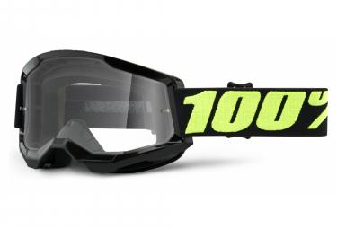 100% STRATA 2 mask | Black Fluo Green Upsol | Clear glasses