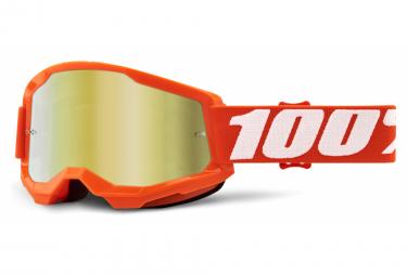 100% STRATA Maske 2 | Orange | Spiegel Goldgläser
