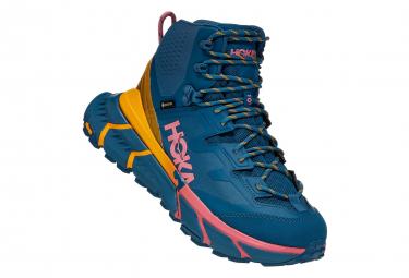 Zapatillas De Senderismo Para Mujer Hoka Tennine Hike Gtx Azul   Amarillo   Rosa 42