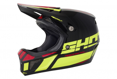 Image of Casque integral shot rogue revolt acid jaune fluo rouge enfant kid xs 49 50cm