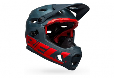 Casco Bell Super DH Spherical Mips con sottogola staccabile blu / rosso cremisi 2021