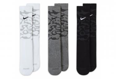 Lot de 3 Paires de Chaussettes Nike Everyday Plus Cushioned Blanc Gris Noir Camo