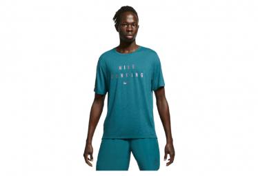 Nike Dri Fit Miler Run Division Camiseta De Manga Corta Azul Verde Hombre L
