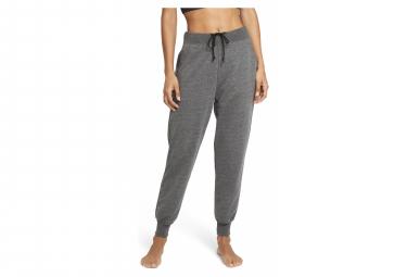 Pantalon Nike Yoga French Terry Fleece 7/8 Gris Noir Femme