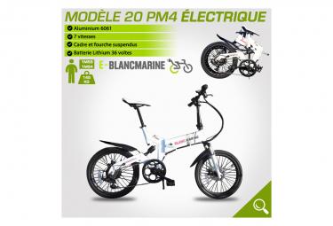 Image of Velo pliant 20pm4 electrique blancmarine 7 vitesses