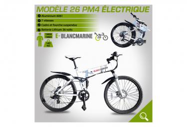 Image of Velo pliant 26pm4 electrique blancmarine 7 vitesses
