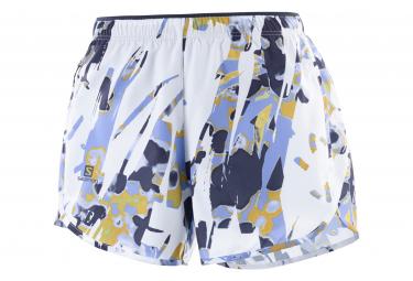 Shorts Salomon Agile Blanco Azul Mujer Xs