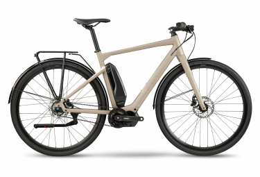 BMC Alpenchallenge AMP AL City One Elektrisches Fitness City Bike Shimano Nexus 5S Gürtel 504 Wh 700 mm Terra Grey Beige 2021