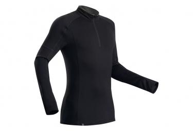 T-shirt manches longues Forclaz Trek 500 merinos Zip Noir Homme