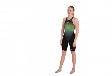 Speedo Fastskin LZR Pure Valor Openback Kneeskin Swimsuit Black / Yellow