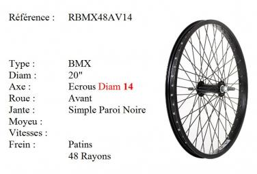 ROUE BMX 20 48 RAYONS NOIR CNC AXE14 AVANT Freestyle.