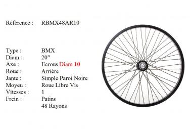 ROUE BMX 20 48 RAYONS NOIR CNC AXE10 ARRIERE Freestyle.