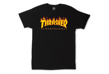 THRASHER, T-shirt flame logo, Black