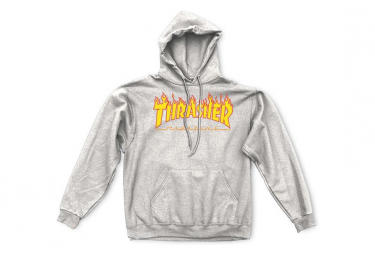THRASHER, Sweat flame hood, Grey