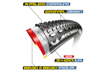 Michelin Power Gravel Competition Line 700 mm Cubierta de grava Tubeless Ready Aro plegable 2 talón Protek X-Miles