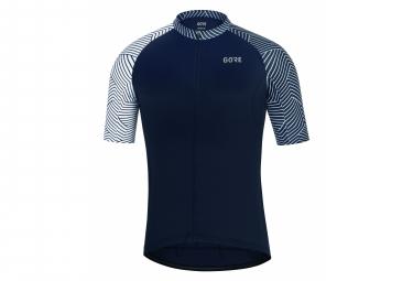 Maillot Manches Courtes Gore Wear C5 Bleu foncé/Blanc