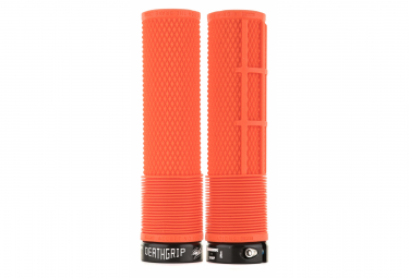 DMR DeathGrip Flangeless Thin Grips Orange Gum