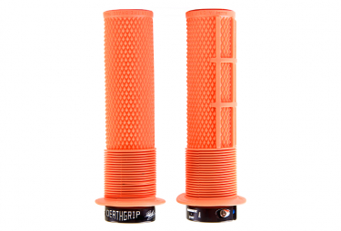 DMR DeathGrip Thin Grips with Flanges Tango Orange