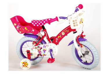 Image of Velo enfant disney la boutique de minnie fille 12 po rose blanc 2 leviers de frein