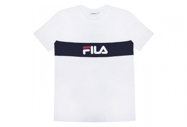 FILA, Men nolan tee dropped shoulder, Bright white-black iris