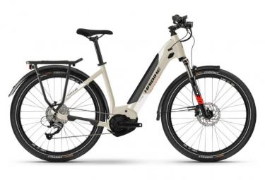 Vélo de Ville Électrique Haibike Trekking 4 Lowstep Shimano Alivio/Altus 9V 500 Beige / Blanc 2021