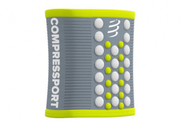 Pulsera De Esponja Compressport Sweatbands 3d Dots Gris   Amarillo Unisex