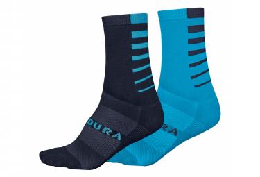 Chaussettes Endura Coolmax Rayées (lot de 2 paires) Bleu