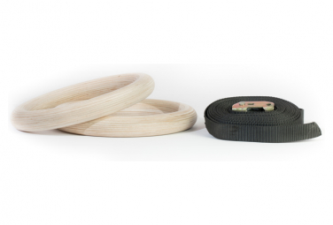 Image of Anneaux en bois avec strap gorilla grip ring 32 mm paire