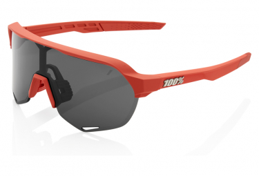 100% Sonnenbrille S2 Soft Tact Coral Red / Smoked Glass