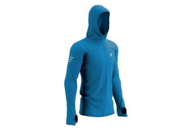 Veste à Capuche Compressport 3D Thermo Seamless Born to Swim-Bike-Run 2021 Bleu