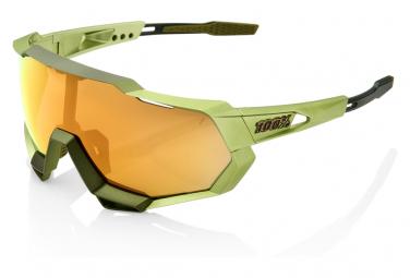 Speedtrap 100% Sonnenbrille Mattmetallic Grün / Bronze Mehrschichtspiegel