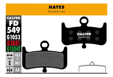 Coppia di pastiglie freno standard Galfer semi-metalliche Hayes Dominion A4