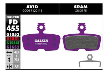 Coppia pastiglie E-Bike Galfer Semi-metalliche Sram Code R, RSC, Guide RE / Avid Code R (2011 ..)