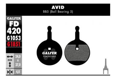 Paar halbmetallische Avid BB5 Standard-Bremsbeläge von Galfer